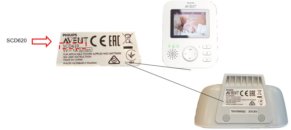 Philips Avent Video-Babyphone SCD620 – Produkttypennummer